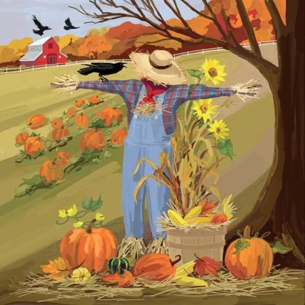 LTD QTY!  Leroy the Scarecrow Beverage Napkins