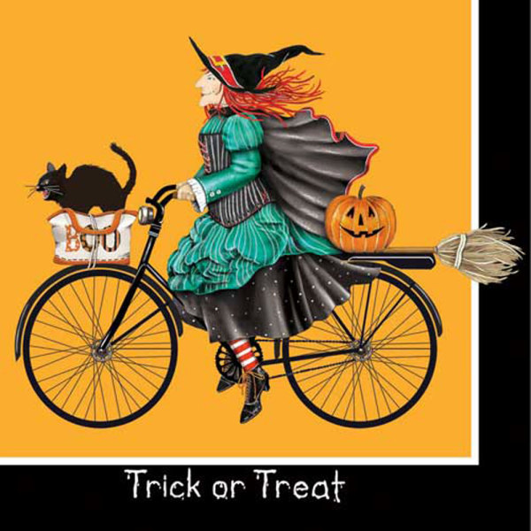 LTD QTY!  Witch On Bike Beverage Napkins
