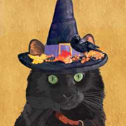 SALE!!  Esmerelda Halloween Cat Beverage Napkin