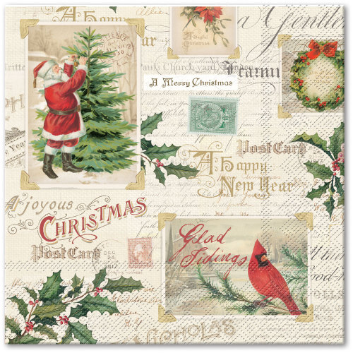 Postcards & Holly Lunch Napkins