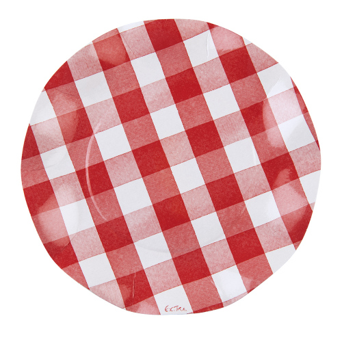 Red Gingham Wavy Edge Paper Lunch Plates