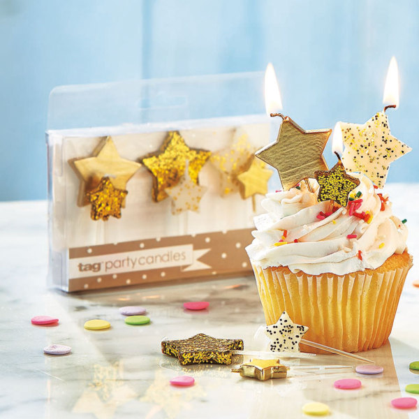Gold Star Candle Set