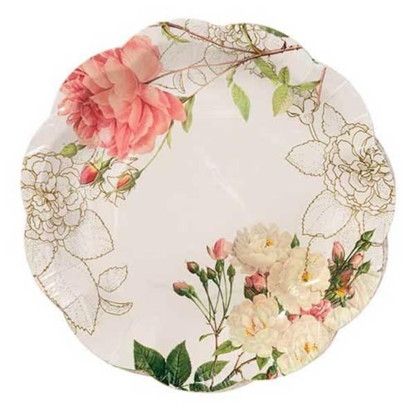 Rose Blossom Paper Dessert Plates
