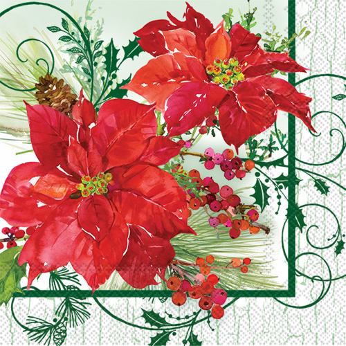Poinsettia Crackle Lunch Napkins