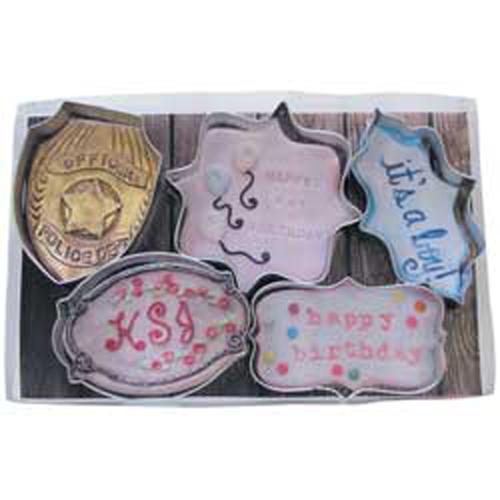 5 Piece Plaque Cookie Cutter Set