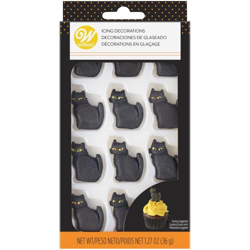 LTD QTY!  Shimmer Black Cat Icing Decorations