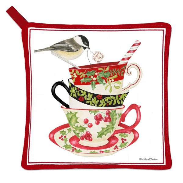 Holiday Teacups with Chickadee Potholder