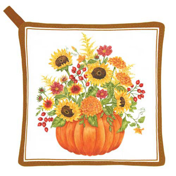 SOS!  Pumpkin with Flowers Pot Holder