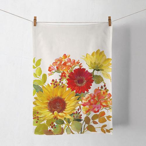 LTD QTY!  Sunny Flowers Cream Kitchen Towel