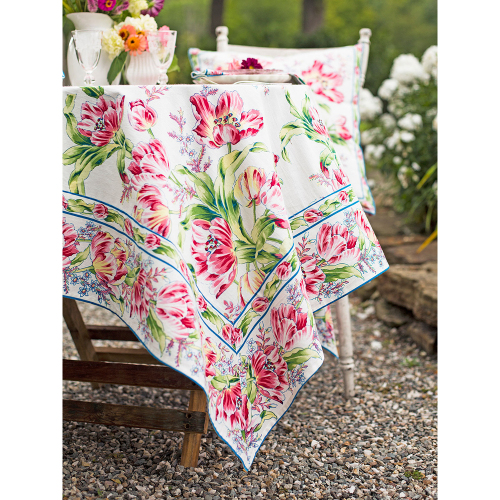 Tulip Dance Ecru Tablecloth