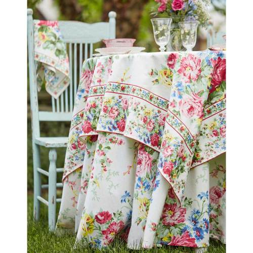 Cottage Rose Ecru Tablecloth