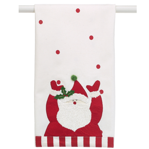 SOS!  Santa w/ Polka Dots Tea Towel
