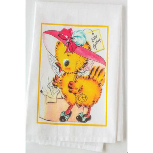 Chick In Pink Bonnet Dishtowel