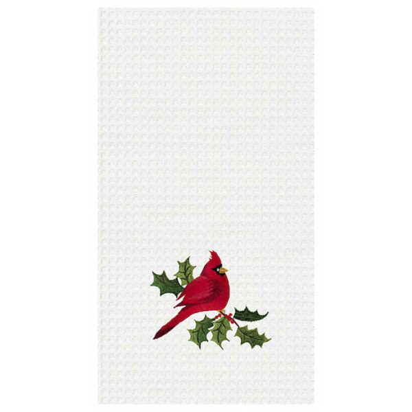 Embroidered Cardinal Tea Towel