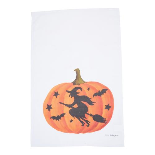 LTD QTY!  Pumpkin Witch Flour Sack Towel