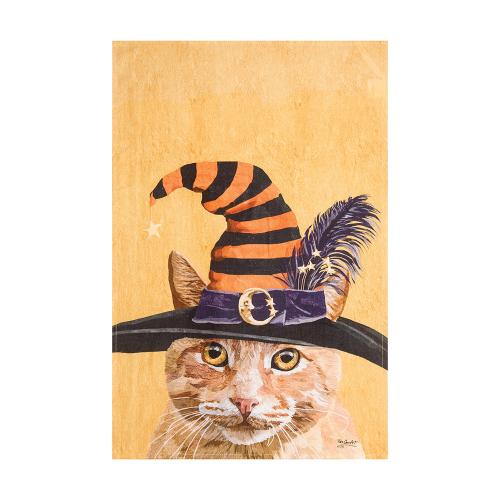 Witch Cat Flour Sack Dishtowel