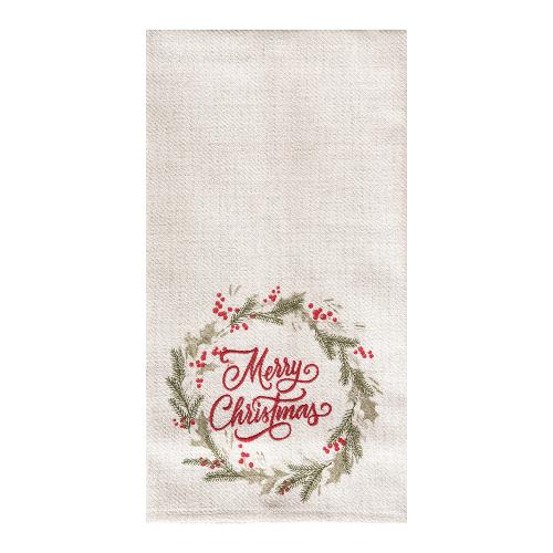 Merry Christmas Wreath Embroidered Dishtowel