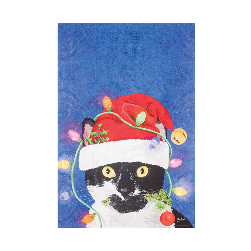 Cat with Christmas Bulbs Kitchen Towel