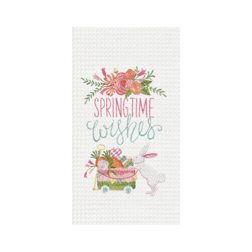 Spring Time Wishes Embroidered Kitchen Towel