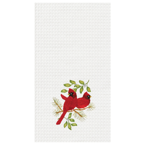 Song Bird Cardinals Embroidered Waffle Weave Towel