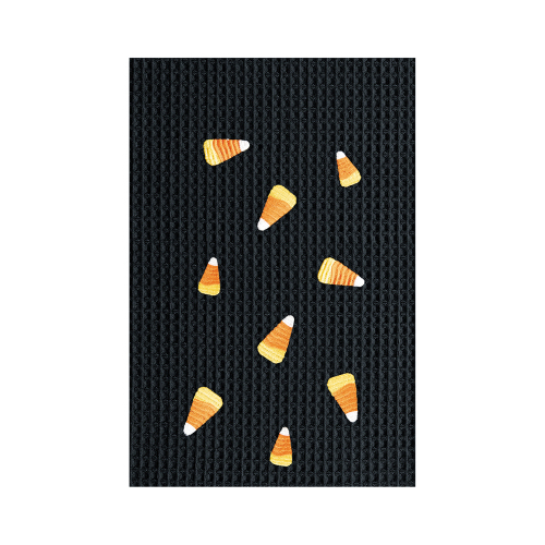 Candy Corn Waffle Embroidered Towel