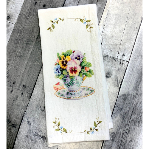 Pansy Teacup Dishtowel