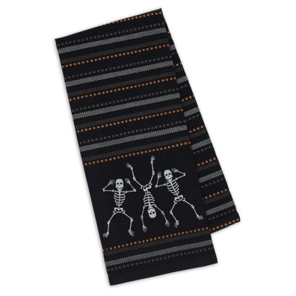 Dancing Skeletons Embroidered Dishtowel