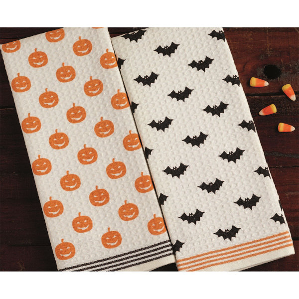 SOS!  Pumpkins & Bats Dishtowel Set