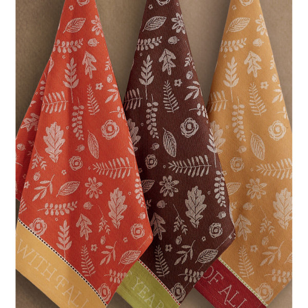 SOS!  Fall Leaves Jacquard Dishtowel Set