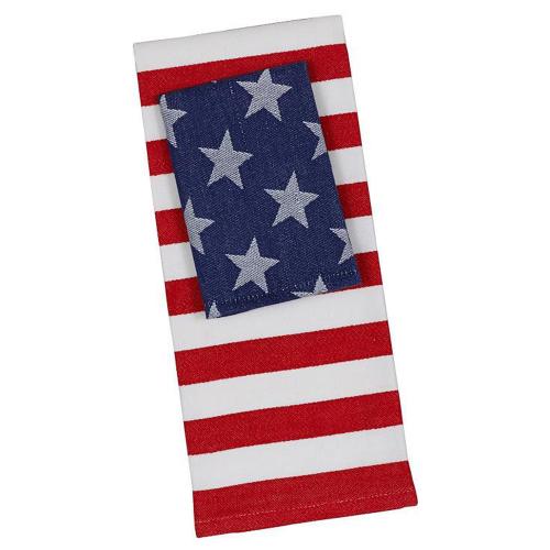 Stars & Stripes Dishtowel and Dishcloth Set