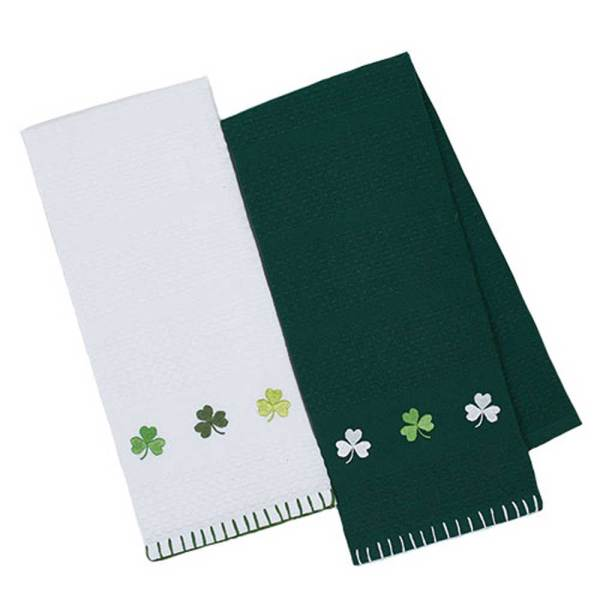 SALE!  Shamrock Embellished Dishtowel Set