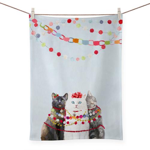 Festive Cat Trio Tea Towel