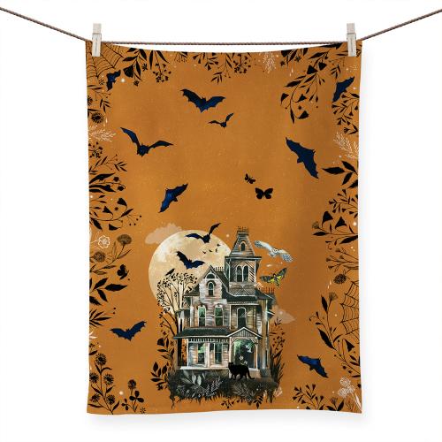 LTD QTY!  Haunted House Tea Towel