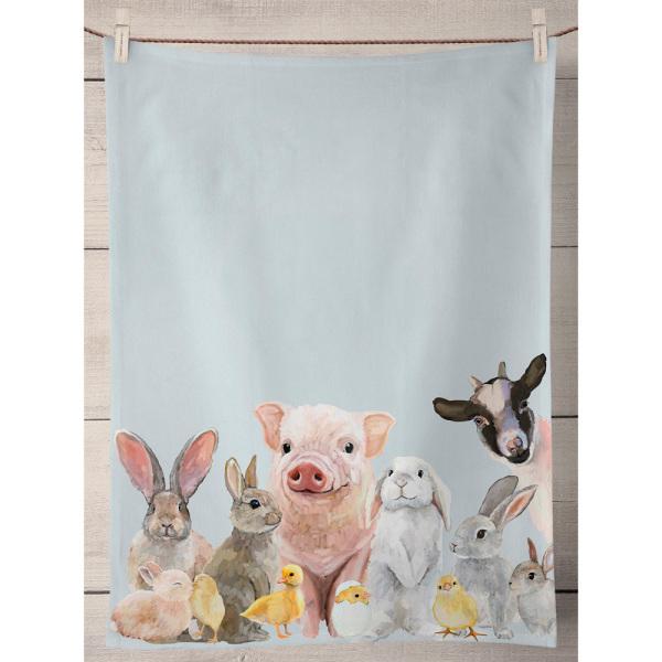 Spring Animal Babies Kitchen Towel