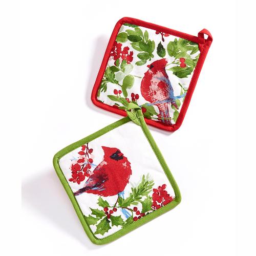 Christmas Cardinal Pot Holder Set of 2