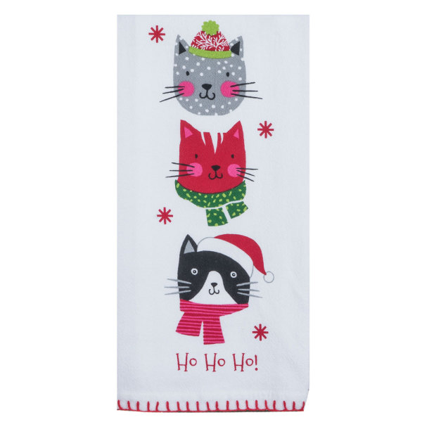 Ho Ho Ho Christmas Kitties Flour Sack Towel