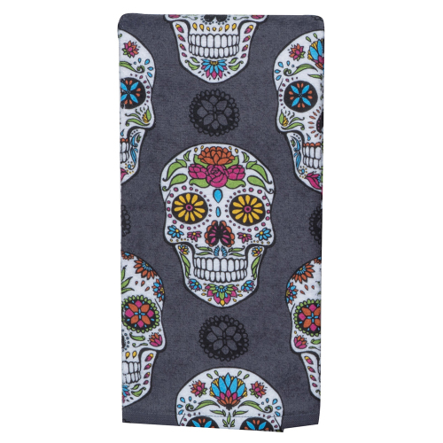 SOS!  Sugar Skull Terry Dishtowel