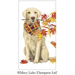 Dog With Autumn Branch Flour Sack Towel