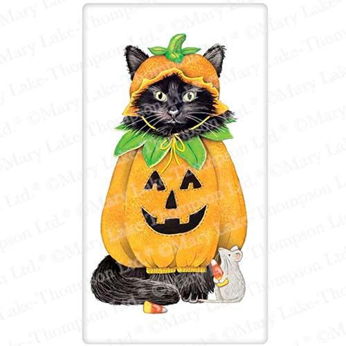 Halloween Pumpkin Cat Flour Sack Towel