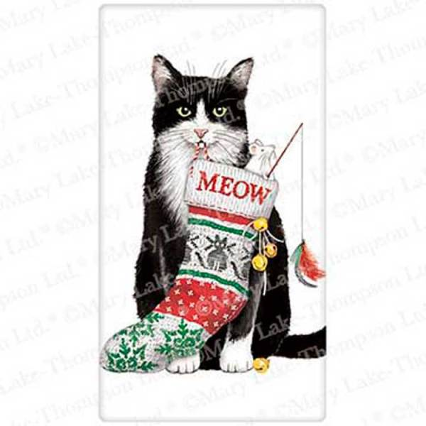 Cat With Christmas Stocking Flour Sack Towel