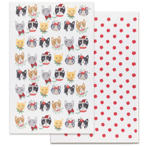 Playful Meowy Christmas Flour Sack Towel Set
