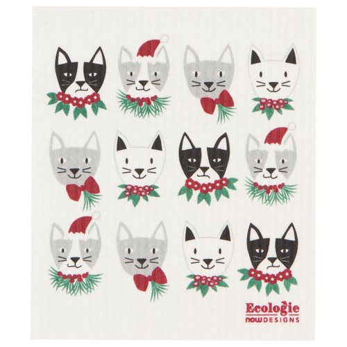 Meowy Christmas Swedish Dishcloth