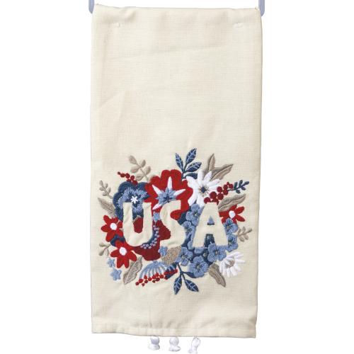 SALE!  Floral USA Embroidered Dishtowel
