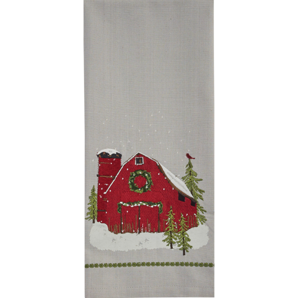 Barn Embroidered Towel