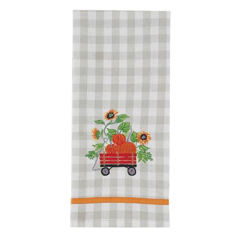 SOS!  Wagon Embroidered Dishtowel