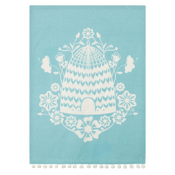 SALE!  Blue Bee Skep Kitchen Towel