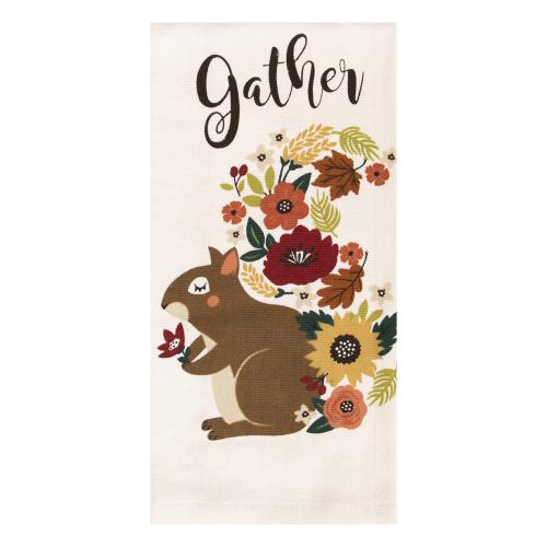 Autumn Bouquet Squirrel Towel
