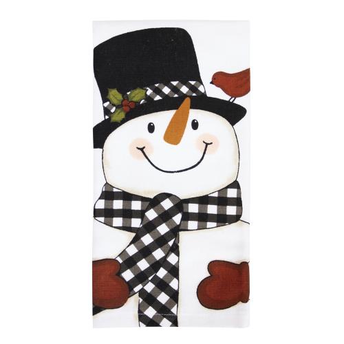 SOS!  Black & White Snowman Kitchen Towel