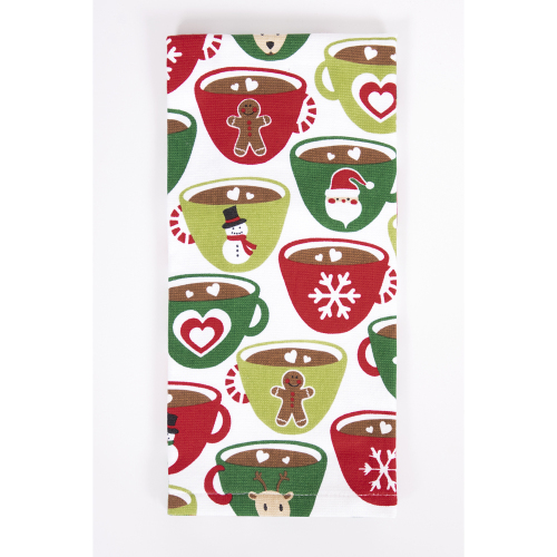 Multi Character Holiday Cups Kitchen Towel