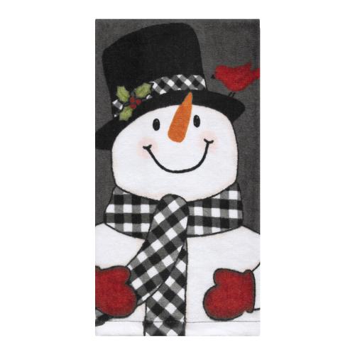 Black Check Snowman Towel
